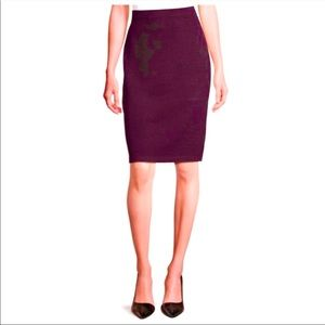 St John Burgundy Knit Pencil Skirt Size 6